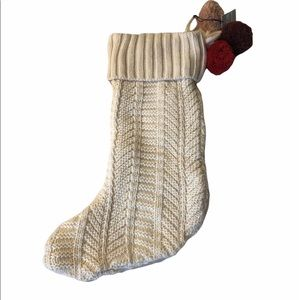 Oui Cable Knit Ivory Holiday Stocking